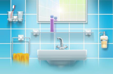 Аксессуары в ванной комнате интерьер