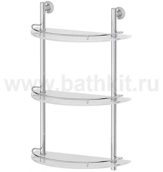 Полка 3-х ярусная 40 см (матовое стекло и хром)