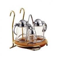 Держатель подвесной для соли, перца, масла и уксуса, золото