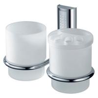 Стакан стеклянный двойной с держателем зубных щеток