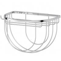Полочка-решетка 26 см с держателями мочалок (хром)