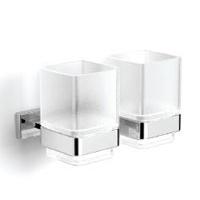 Двойной стакан к стене (квадратный, стекло)