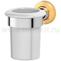 Держатель со стаканом (фарфор) 3SC Stilmar (хром/золото) - фото