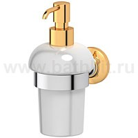 Держатель с емкостью для жидкого мыла (фарфор) 3SC Stilmar (хром/золото) - фото
