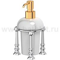 Емкость для жидкого мыла настольная (фарфор) 3SC Stilmar (хром/золото) - фото