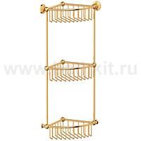 Полочка-решетка угловая 3-х ярусная 23 см 3SC Stilmar (золото) - фото