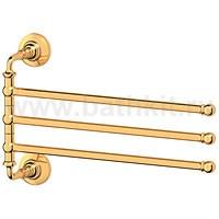 Держатель полотенец поворотный тройной 35 см 3SC Stilmar (золото) - фото