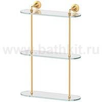 Полка стеклянная 3-х ярусная 40 см 3SC Stilmar (золото) - фото