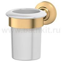 Держатель со стаканом (фарфор) 3SC Stilmar (матовое золото) - фото