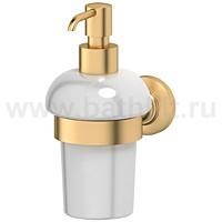 Держатель с емкостью для жидкого мыла 3SC Stilmar (фарфор, матовое золото) - фото