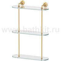 Полка стеклянная 3-х ярусная 40 см 3SC Stilmar (матовое золото) - фото