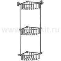 Полочка-решетка угловая 3-х ярусная 23 см 3SC Stilmar (античное серебро) - фото