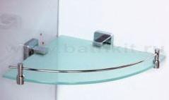 Полка стеклянная с ограничителем угловая Rainbowl Cube - фото