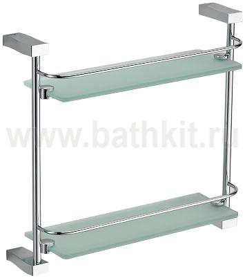 Полка прямая стекло с ограничителем 2-этажная Schein Swing - фото