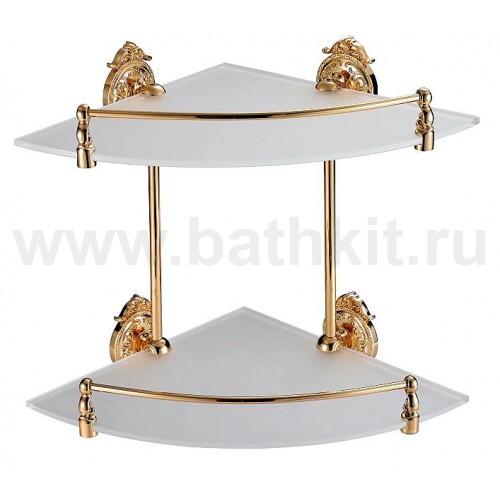 Полка стеклянная угловая с ограничителем 2-эт. Hayta Classic Gold - фото