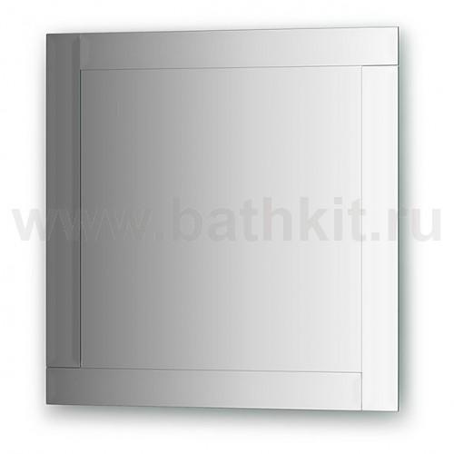 Зеркало с зеркальным обрамлением, хром  (60х60 см) - фото