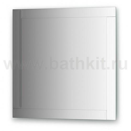 Зеркало с зеркальным обрамлением, хром  (70х70 см) - фото