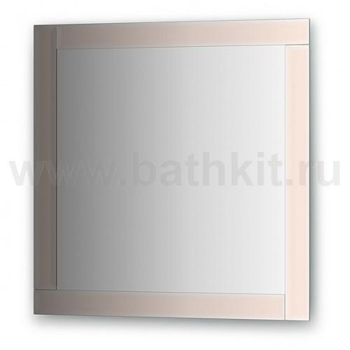 Зеркало с зеркальным обрамлением, цвет хром  (70х70 см) - фото