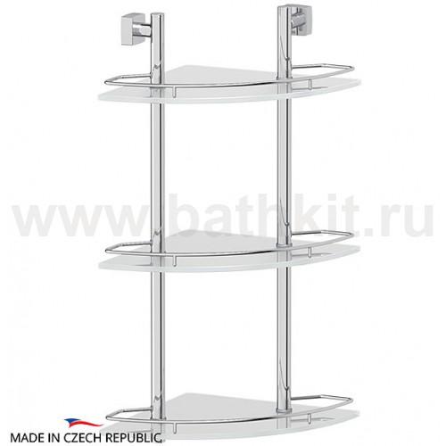 Полка 3-х ярусная угловая 28 см (матовое стекло; хром) FBS Esperado - фото