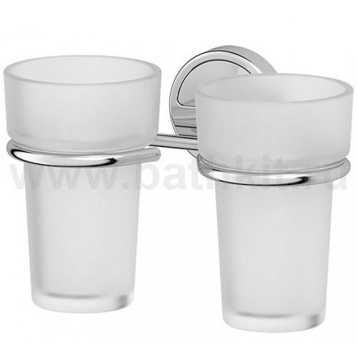 Держатель с 2-мя стаканами (матовый хрусталь; хром) FBS Luxia - фото