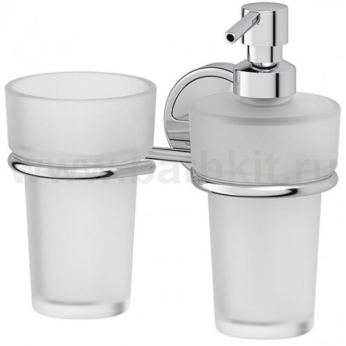 Держатель со стаканом и емкостью для жидкого мыла (матовый хрусталь; хром) FBS Luxia - фото