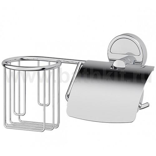 Держатель освежителя и туалетной бумаги с крышкой (хром) FBS Luxia - фото