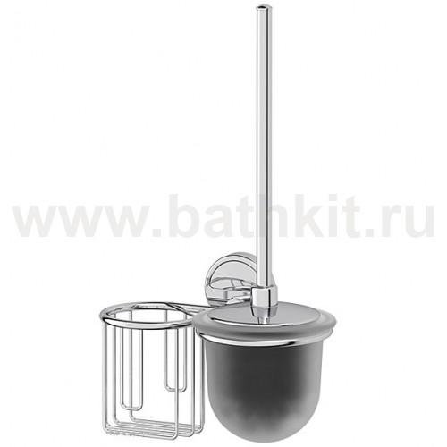 Держатель освежителя и ерш с крышкой (матовый хрусталь; хром) FBS Luxia - фото