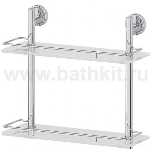Полка 2-х ярусная 30 см (матовое стекло; хром) FBS Luxia - фото