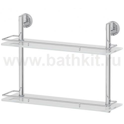 Полка 2-х ярусная 40 см (матовое стекло; хром) FBS Luxia - фото