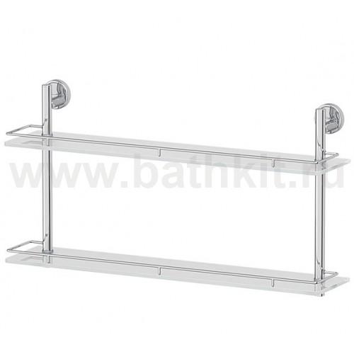 Полка 2-х ярусная 60 см (матовое стекло; хром) FBS Luxia - фото