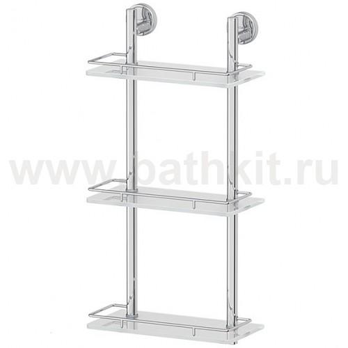 Полка 3-х ярусная 30 см (матовое стекло; хром) FBS Luxia - фото