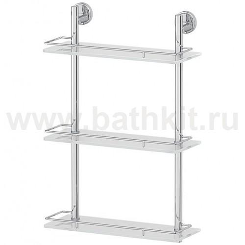 Полка 3-х ярусная 40 см (матовое стекло; хром) FBS Luxia - фото