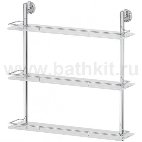 Полка 3-х ярусная 60 см (матовое стекло; хром) FBS Luxia - фото