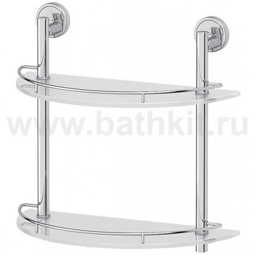 Полка FBS Luxia 2-х ярусная 40 см (матовое стекло; хром) - фото
