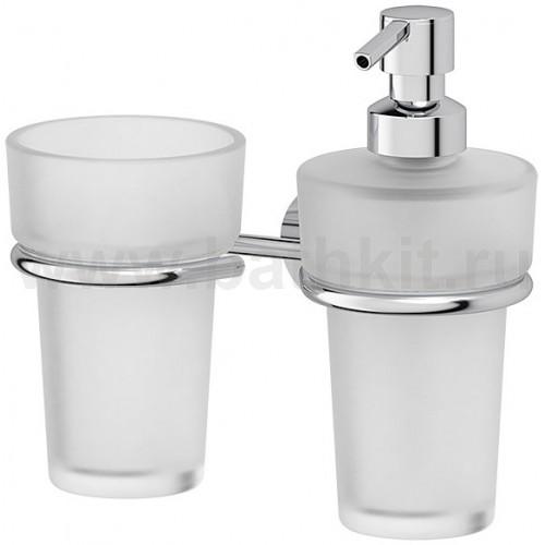 Держатель со стаканом и емкостью для жидкого мыла (матовый хрусталь; хром) FBS Nostalgy - фото