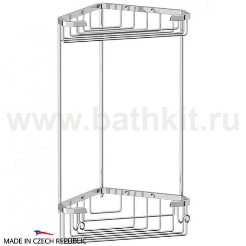 Полочка-решетка угловая 2-х ярусная 18/18 см (хром) FBS Ryna - фото