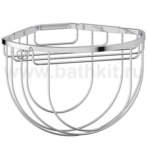 Полочка-решетка угловая 26 см с держателями мочалок (хром) FBS Ryna - фото