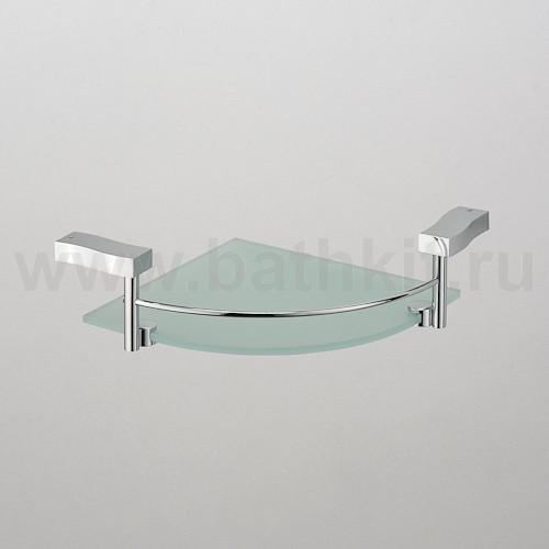 Полка угловая стекло с ограничителем 1-этажная  Schein Swing - фото