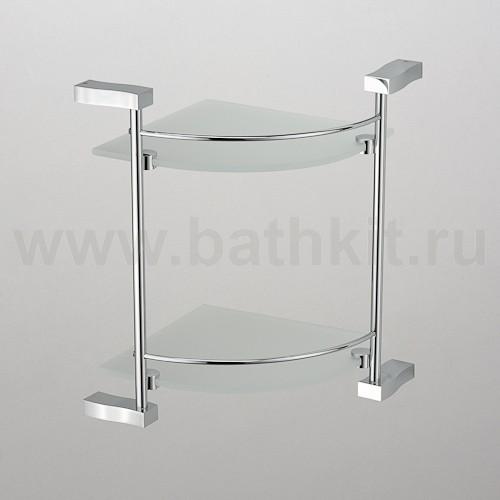 Полка угловая стекло с ограничителем 2-этажная  Schein Swing - фото