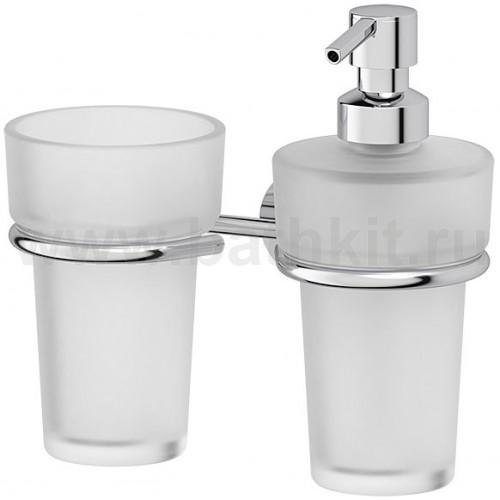 Держатель со стаканом и емкостью для жидкого мыла (матовый хрусталь; хром) FBS Vizovice - фото