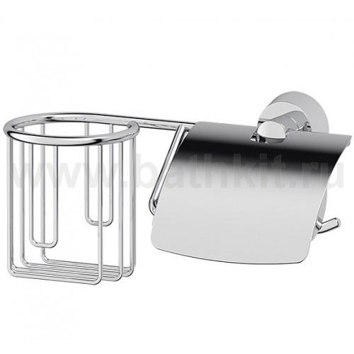 Держатель освежителя и туалетной бумаги с крышкой (хром) FBS Vizovice - фото