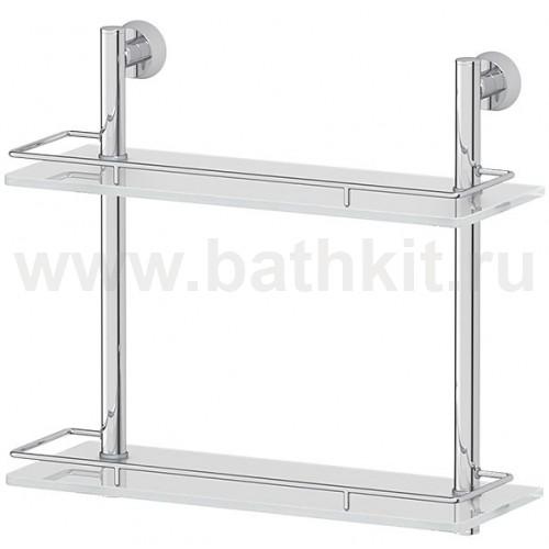 Полка 2-х ярусная 30 см (матовое стекло; хром) FBS Vizovice - фото
