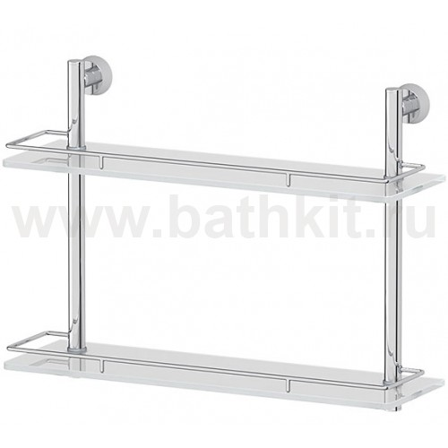 Полка 2-х ярусная 40 см (матовое стекло и хром) FBS Vizovice - фото
