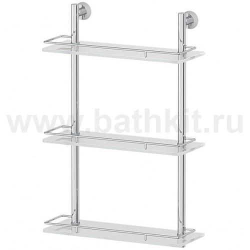Полка Vizovice 3-х ярусная 40 см (матовое стекло; хром) - фото
