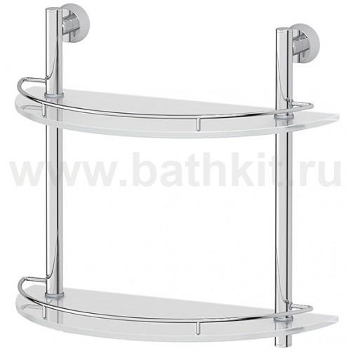 Полка 2-х ярусная 40 см (матовое стекло; хром) FBS Vizovice - фото
