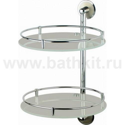 Полка стеклянная двойная диаметр 28 см