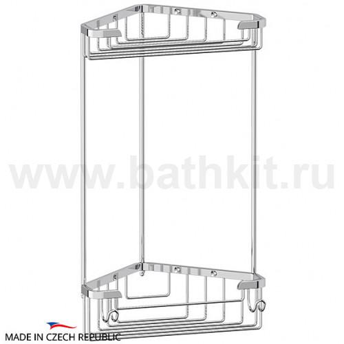 Полочка-решетка угловая 2-х ярусная 18/18 см (хром)