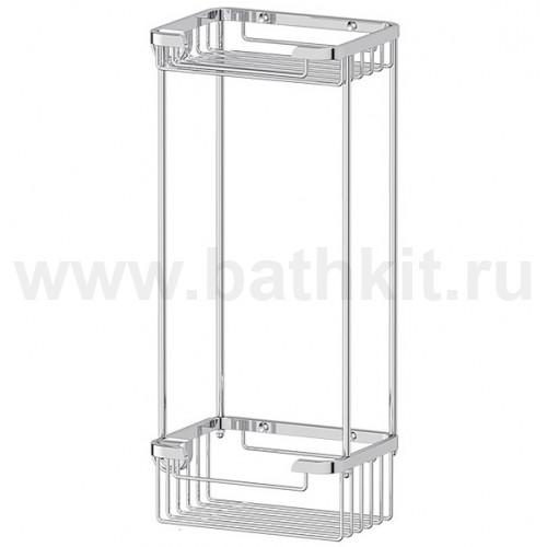 Полочка-решетка 2-х ярусная 13/13 см (хром)