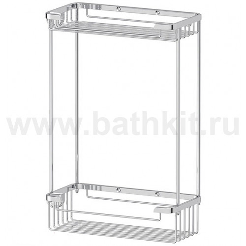 Полочка-решетка 2-х ярусная 20/20 см (хром)