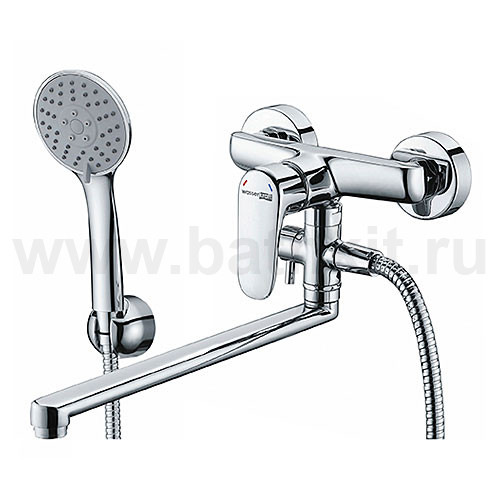 Смеситель для ванны с длинным поворотным изливом